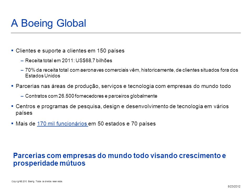 Copyright © 2010 Boeing. All rights reserved. 8/23/2012 Parcerias com empresas do mundo todo visando crescimento e prosperidade mútuos A Boeing Global