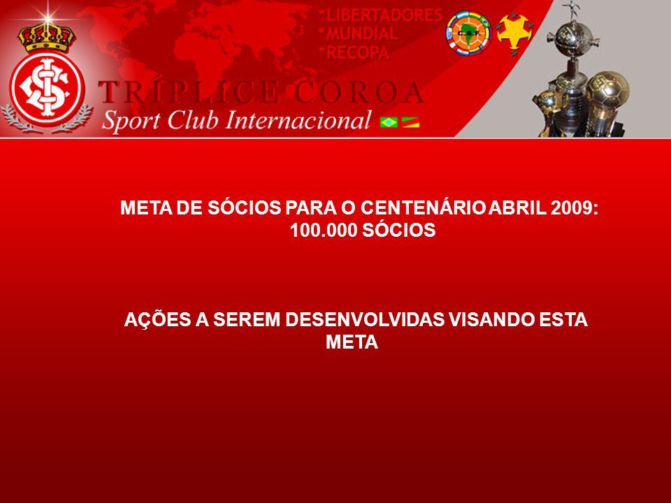 META DE SÓCIOS PARA O CENTENÁRIO ABRIL 2009: 100.000 SÓCIOS AÇÕES A SEREM DESENVOLVIDAS VISANDO ESTA META