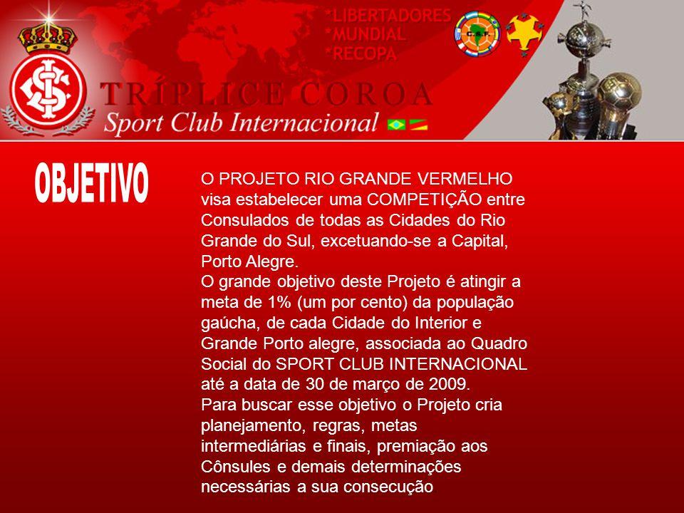 O PROJETO RIO GRANDE VERMELHO visa estabelecer uma COMPETIÇÃO entre Consulados de todas as Cidades do Rio Grande do Sul, excetuando-se a Capital, Porto Alegre.