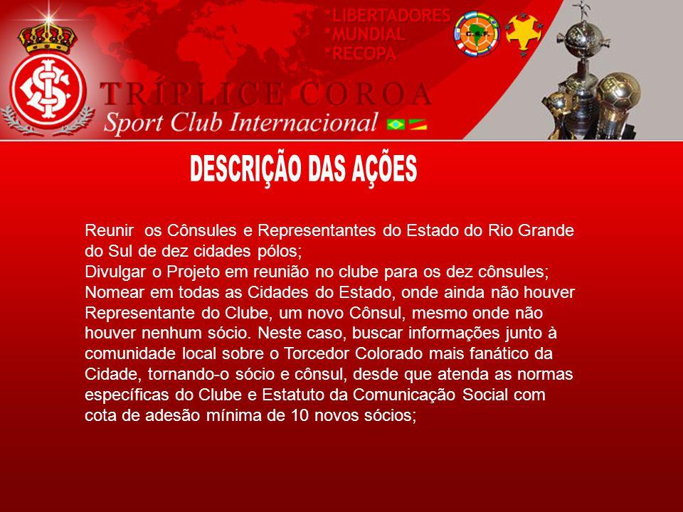 Reunir os Cônsules e Representantes do Estado do Rio Grande do Sul de dez cidades pólos; Divulgar o Projeto em reunião no clube para os dez cônsules;