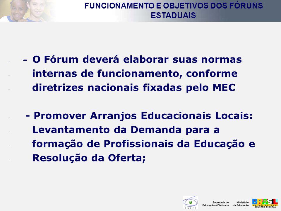 - - O Fórum deverá elaborar suas normas - internas de funcionamento, conforme - diretrizes nacionais fixadas pelo MEC - - Promover Arranjos Educaciona