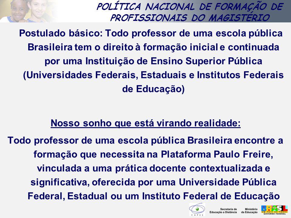 Postulado básico: Todo professor de uma escola pública Brasileira tem o direito à formação inicial e continuada por uma Instituição de Ensino Superior