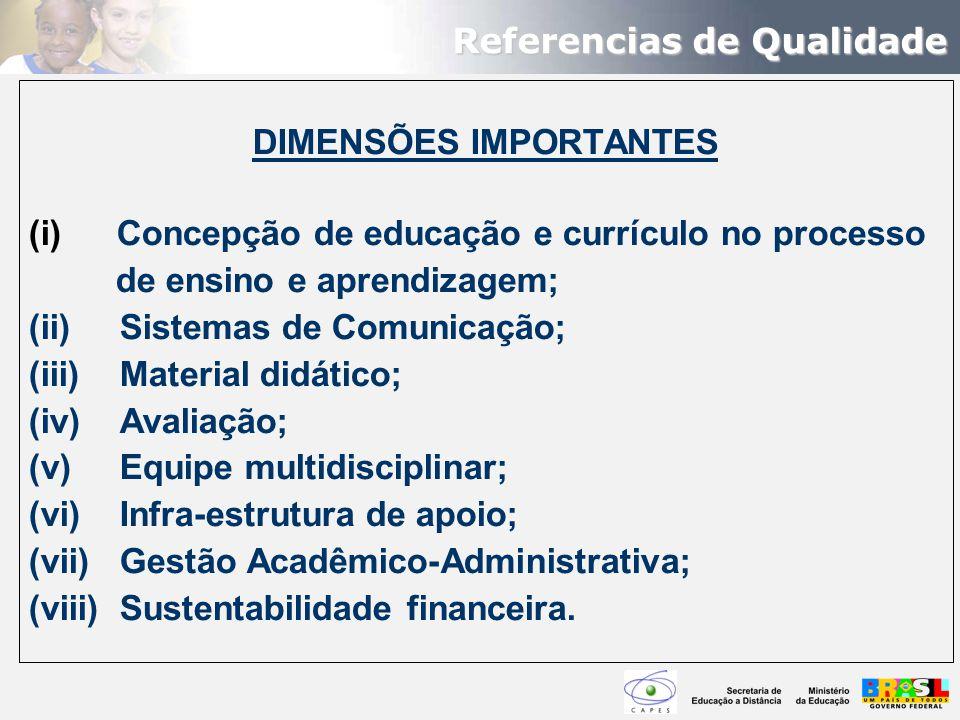 DIMENSÕES IMPORTANTES (i) Concepção de educação e currículo no processo de ensino e aprendizagem; (ii) Sistemas de Comunicação; (iii) Material didátic
