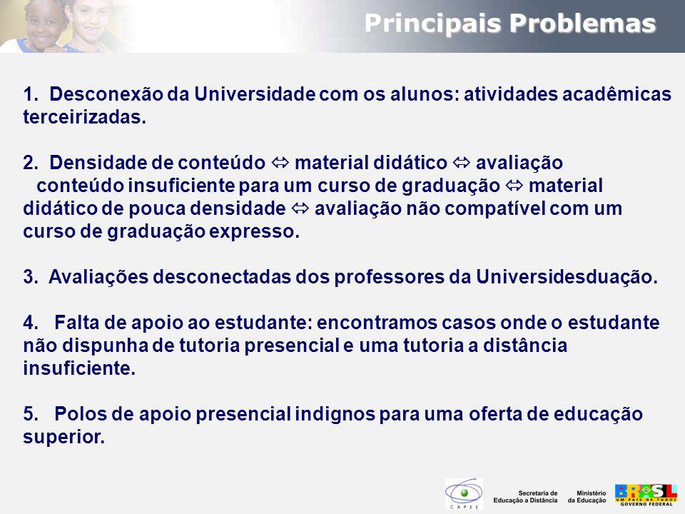 1. Desconexão da Universidade com os alunos: atividades acadêmicas terceirizadas. 2. Densidade de conteúdo  material didático  avaliação conteúdo in
