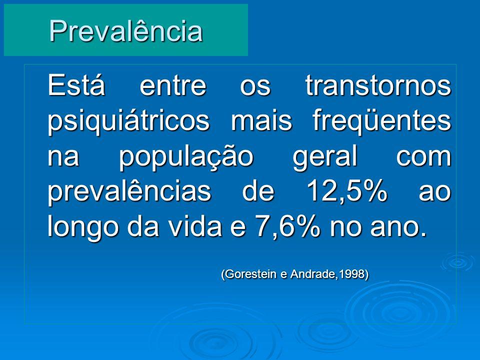 Prevalência Está entre os transtornos psiquiátricos mais freqüentes na população geral com prevalências de 12,5% ao longo da vida e 7,6% no ano. (Gore