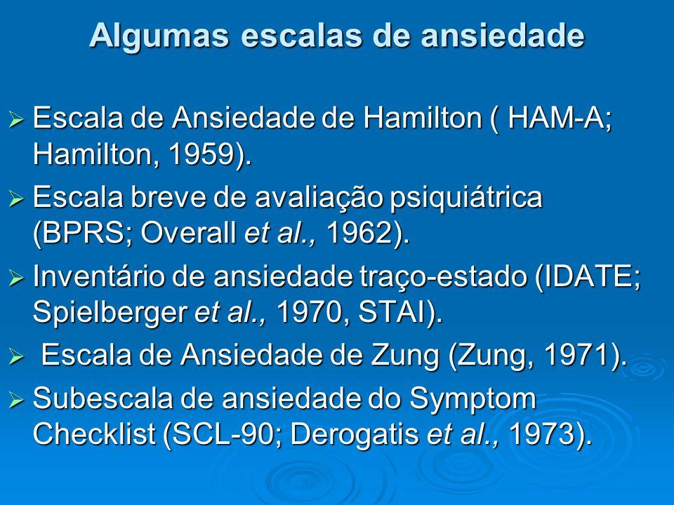Algumas escalas de ansiedade  Escala de Ansiedade de Hamilton ( HAM-A; Hamilton, 1959).  Escala breve de avaliação psiquiátrica (BPRS; Overall et al