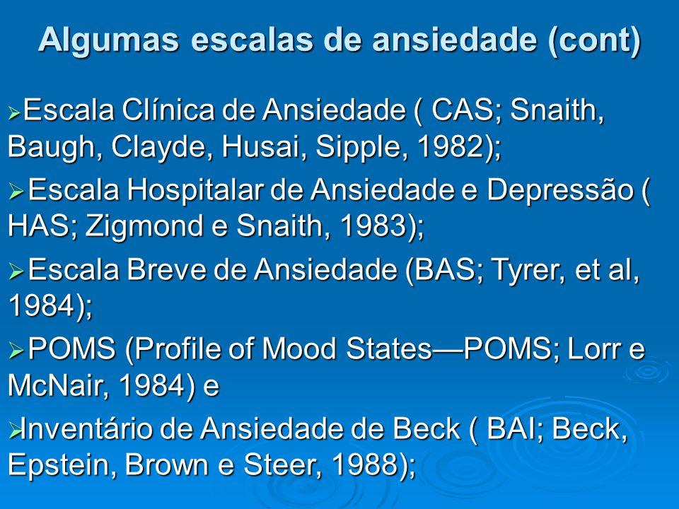  Escala Clínica de Ansiedade ( CAS; Snaith, Baugh, Clayde, Husai, Sipple, 1982);  Escala Hospitalar de Ansiedade e Depressão ( HAS; Zigmond e Snaith