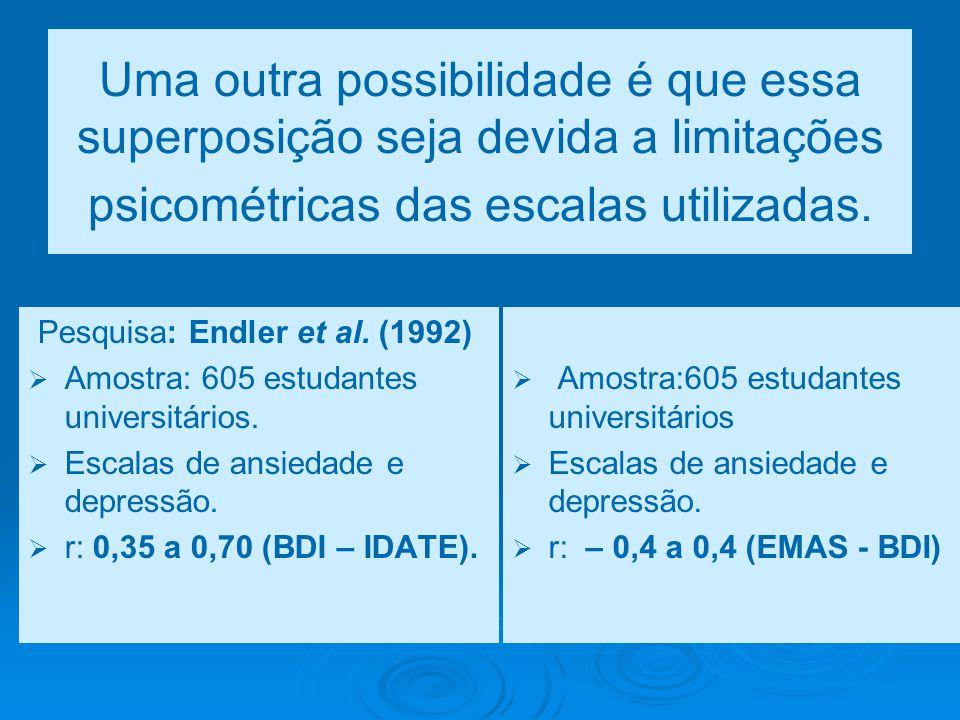 Uma outra possibilidade é que essa superposição seja devida a limitações psicométricas das escalas utilizadas. Pesquisa: Endler et al. (1992)   Amos