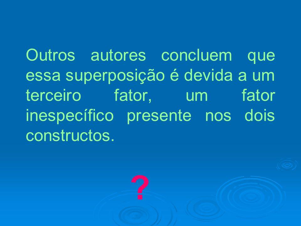 Outros autores concluem que essa superposição é devida a um terceiro fator, um fator inespecífico presente nos dois constructos. ?