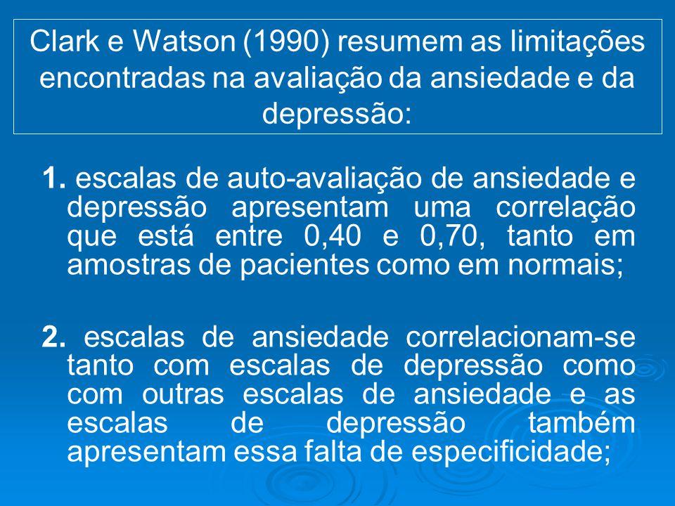 Clark e Watson (1990) resumem as limitações encontradas na avaliação da ansiedade e da depressão: 1. escalas de auto-avaliação de ansiedade e depressã