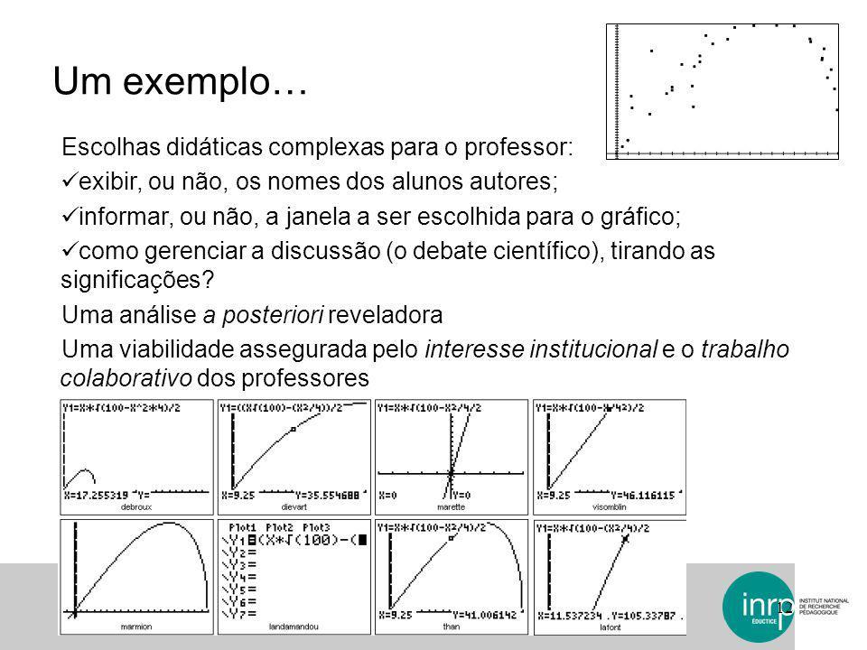 Um exemplo… 12 Escolhas didáticas complexas para o professor: exibir, ou não, os nomes dos alunos autores; informar, ou não, a janela a ser escolhida