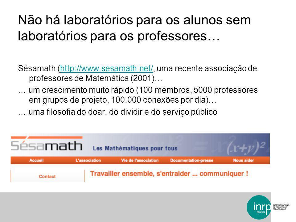 Sésamath (http://www.sesamath.net/, uma recente associação de professores de Matemática (2001)…http://www.sesamath.net/ … um crescimento muito rápido