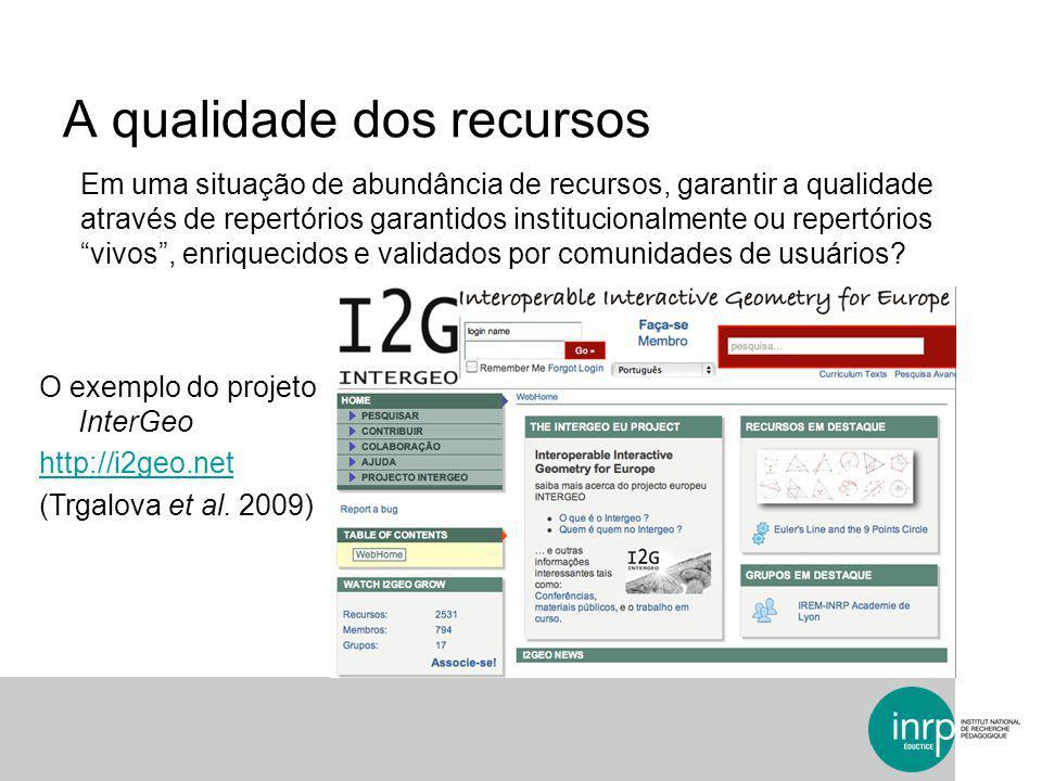 A qualidade dos recursos O exemplo do projeto InterGeo http://i2geo.net (Trgalova et al. 2009) Em uma situação de abundância de recursos, garantir a q