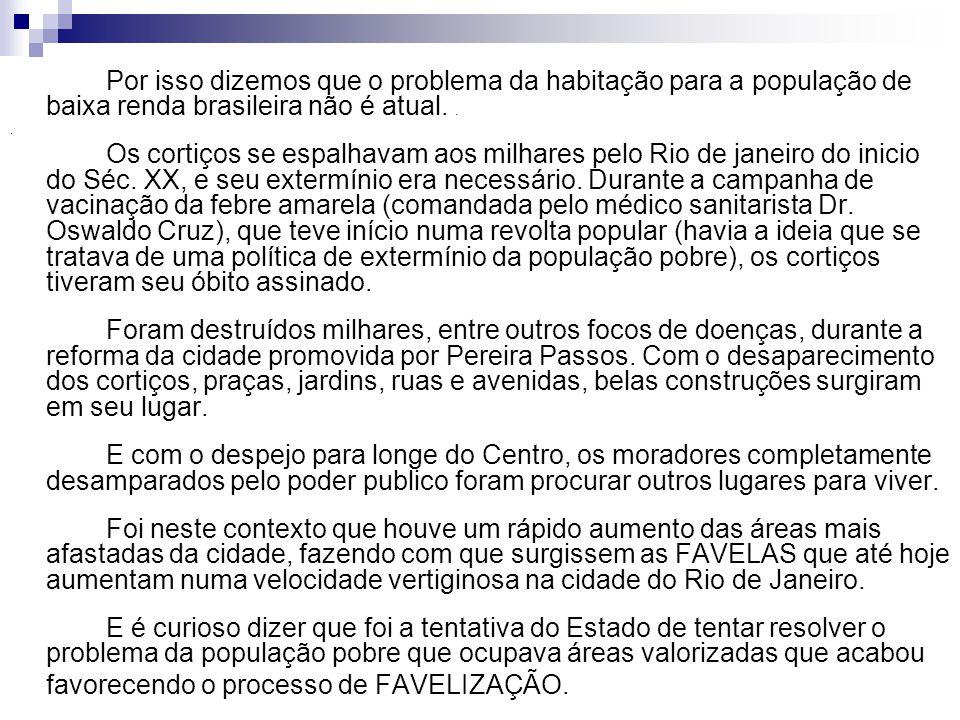 Por isso dizemos que o problema da habitação para a população de baixa renda brasileira não é atual... Os cortiços se espalhavam aos milhares pelo Rio