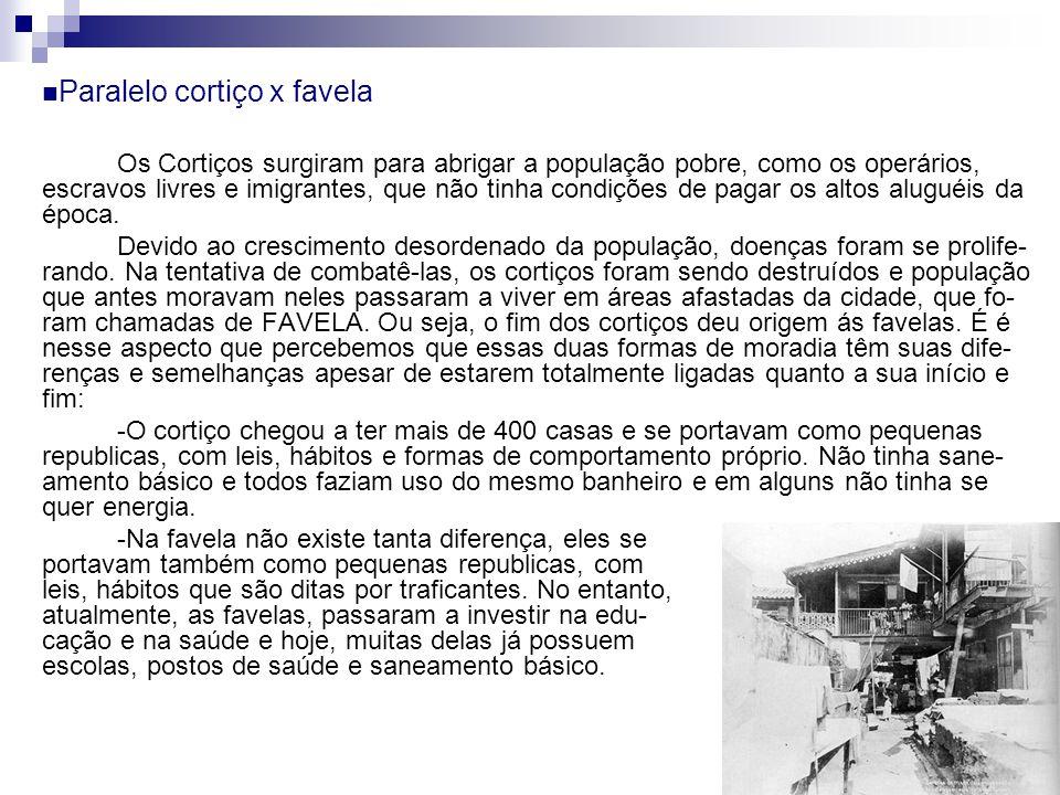 Paralelo cortiço x favela Os Cortiços surgiram para abrigar a população pobre, como os operários, escravos livres e imigrantes, que não tinha condiçõe