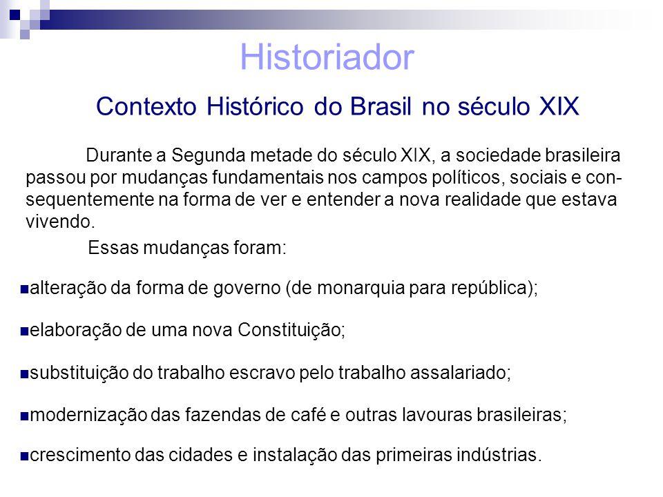 Historiador Contexto Histórico do Brasil no século XIX Durante a Segunda metade do século XIX, a sociedade brasileira passou por mudanças fundamentais