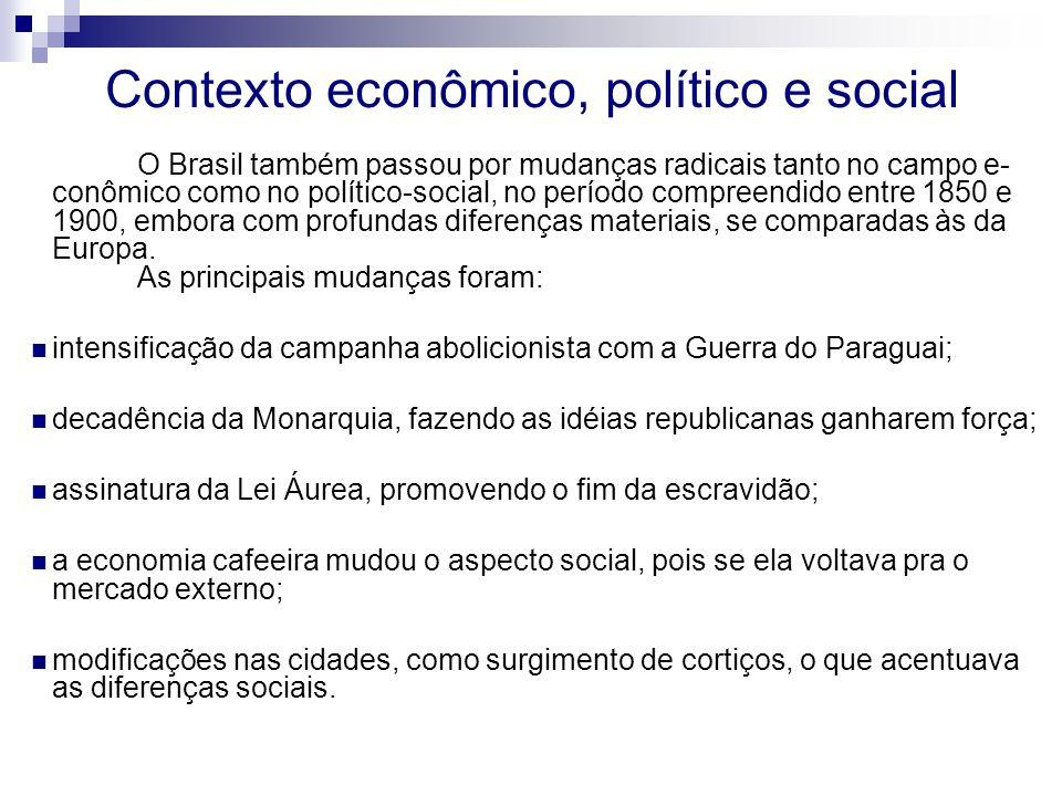 Contexto econômico, político e social O Brasil também passou por mudanças radicais tanto no campo e- conômico como no político-social, no período comp