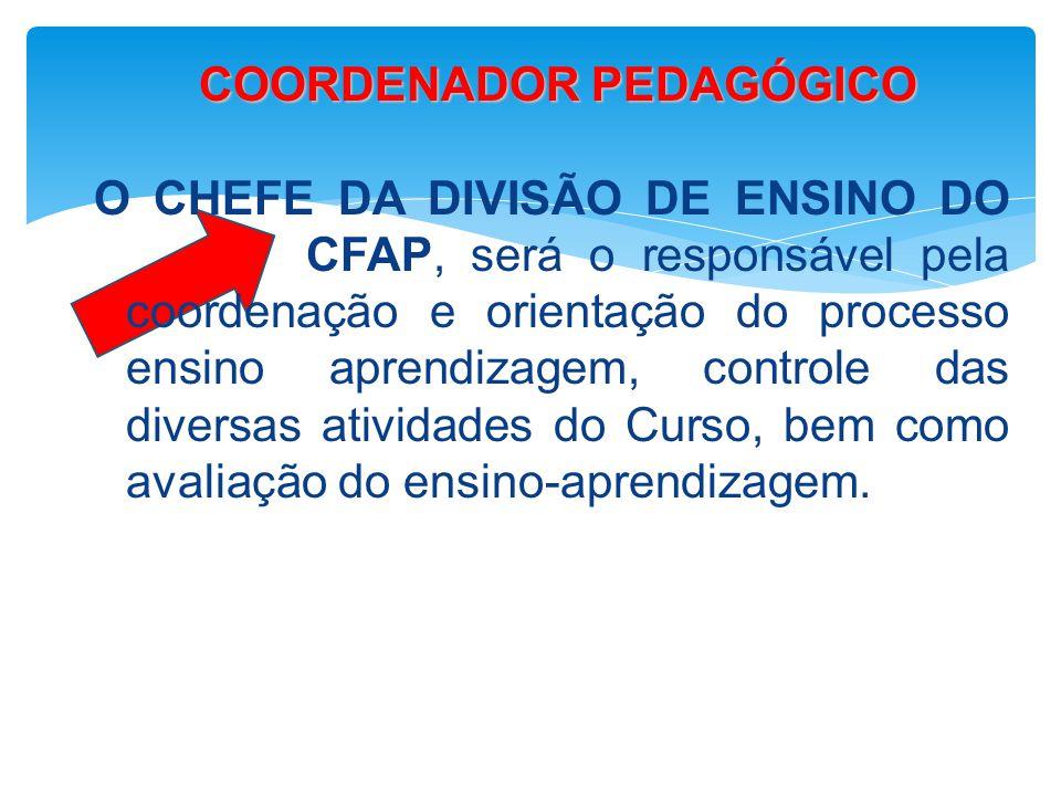 COORDENADOR PEDAGÓGICO COORDENADOR PEDAGÓGICO O CHEFE DA DIVISÃO DE ENSINO DO CFAP, será o responsável pela coordenação e orientação do processo ensin