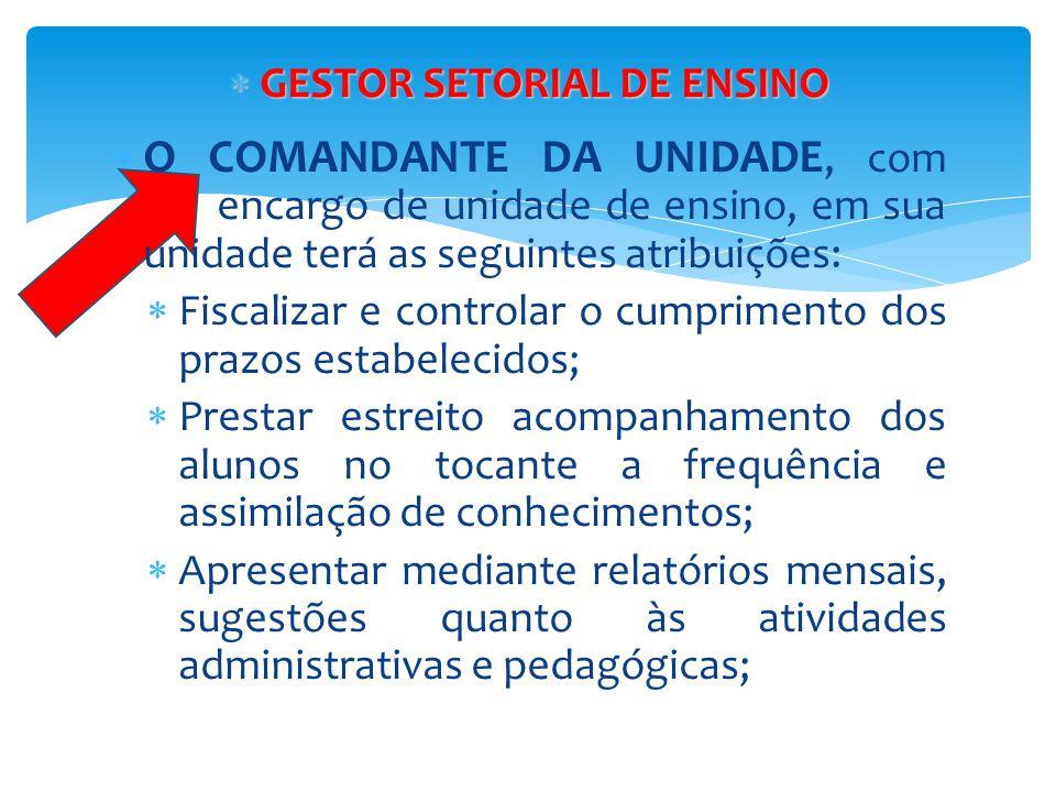  GESTOR SETORIAL DE ENSINO  O COMANDANTE DA UNIDADE, com encargo de unidade de ensino, em sua unidade terá as seguintes atribuições:  Fiscalizar e