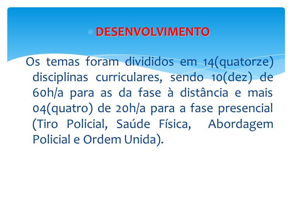  DESENVOLVIMENTO Os temas foram divididos em 14(quatorze) disciplinas curriculares, sendo 10(dez) de 60h/a para as da fase à distância e mais 04(quat
