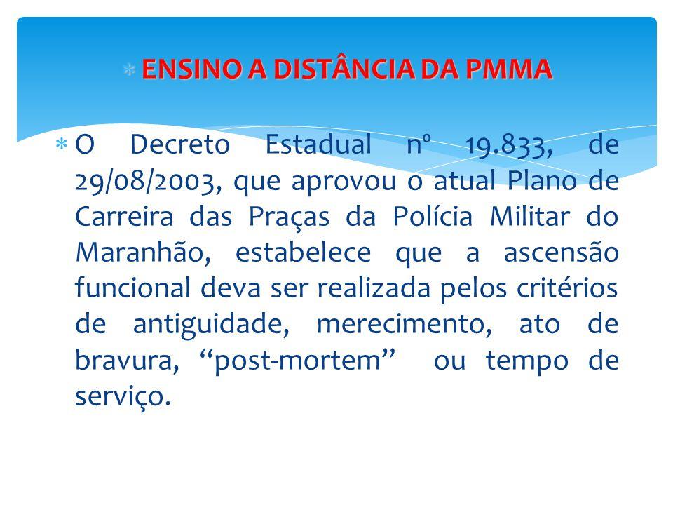  ENSINO A DISTÂNCIA DA PMMA  O Decreto Estadual nº 19.833, de 29/08/2003, que aprovou o atual Plano de Carreira das Praças da Polícia Militar do Mar
