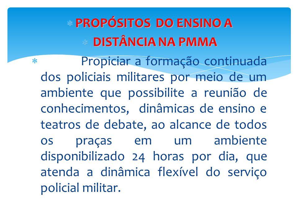  PROPÓSITOS DO ENSINO A  DISTÂNCIA NA PMMA  Propiciar a formação continuada dos policiais militares por meio de um ambiente que possibilite a reuni