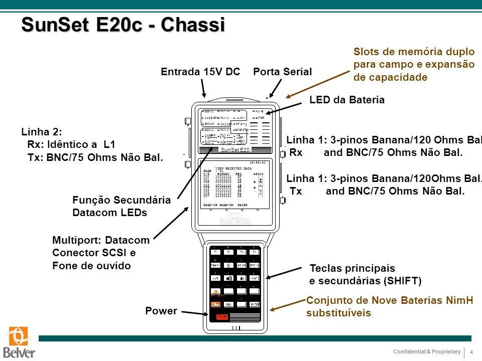 Confidential & Proprietary 4 SunSet E20c - Chassi Função Secundária Datacom LEDs Função Secundária Datacom LEDs Linha 2: Rx: Idêntico a L1 Tx: BNC/75