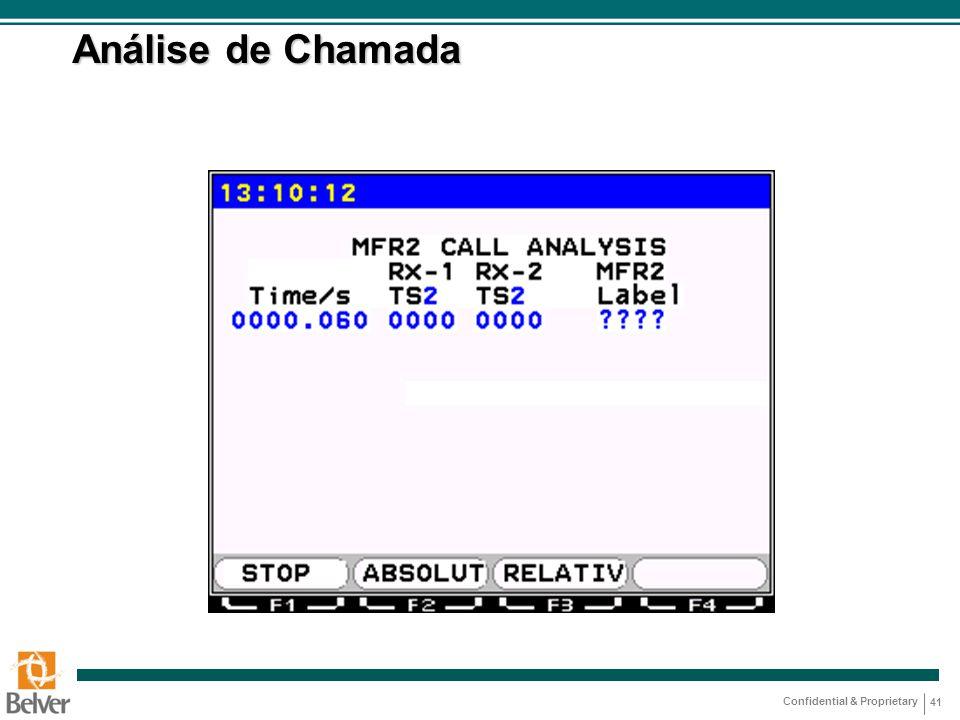 Confidential & Proprietary 41 Análise de Chamada