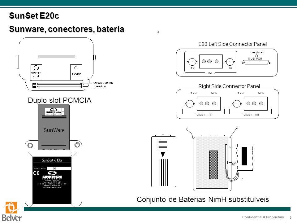 Confidential & Proprietary 5 SunSet E20c Sunware, conectores, bateria Conjunto de Baterias NimH substituíveis Duplo slot PCMCIA SunWare INSERT HERE a