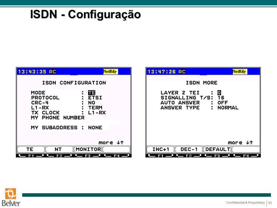 Confidential & Proprietary 53 ISDN - Configuração