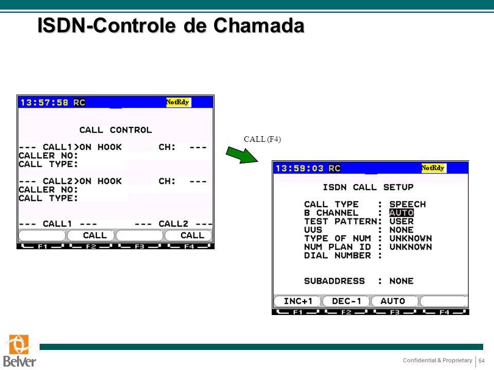 Confidential & Proprietary 54 ISDN-Controle de Chamada CALL (F4)