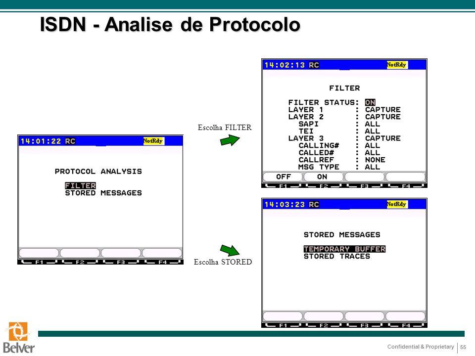 Confidential & Proprietary 55 ISDN - Analise de Protocolo Escolha FILTER Escolha STORED