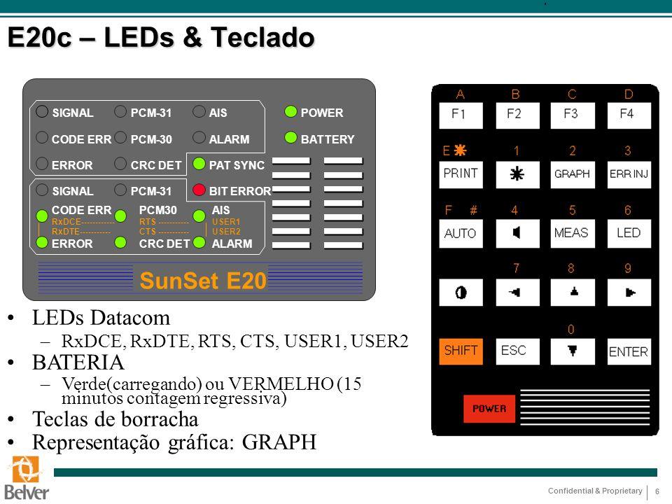 Confidential & Proprietary 6 E20c – LEDs & Teclado SunSet E20 SIGNAL CODE ERR ERROR SIGNAL CODE ERR RxDCE------------ RxDTE----------- ERROR PCM-31 PC