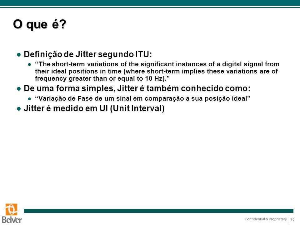 """Confidential & Proprietary 70 O que é? ● Definição de Jitter segundo ITU: ● """"The short-term variations of the significant instances of a digital signa"""
