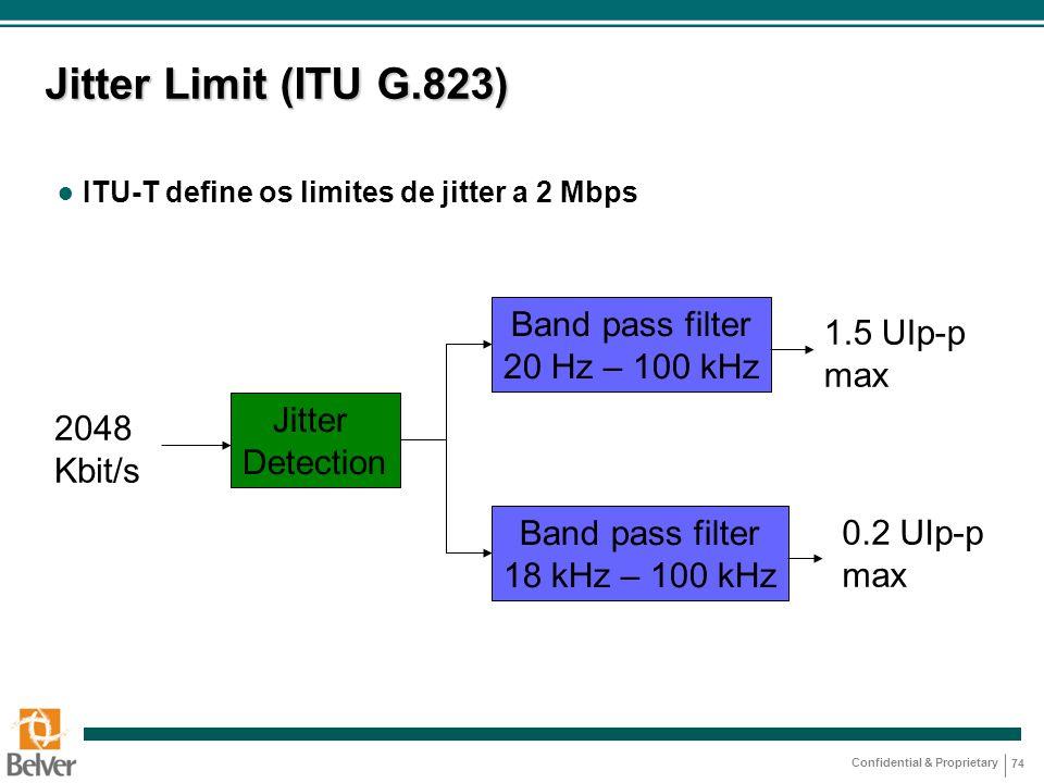 Confidential & Proprietary 74 Jitter Limit (ITU G.823) ● ITU-T define os limites de jitter a 2 Mbps Jitter Detection Band pass filter 20 Hz – 100 kHz
