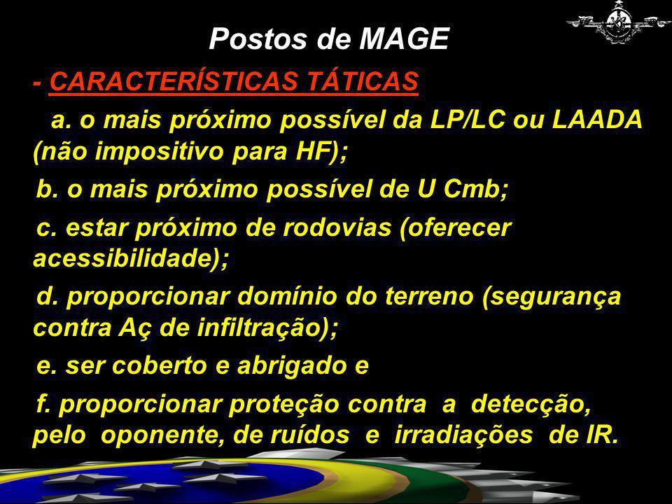- CARACTERÍSTICAS TÁTICAS a. o mais próximo possível da LP/LC ou LAADA (não impositivo para HF); b. o mais próximo possível de U Cmb; c. estar próximo