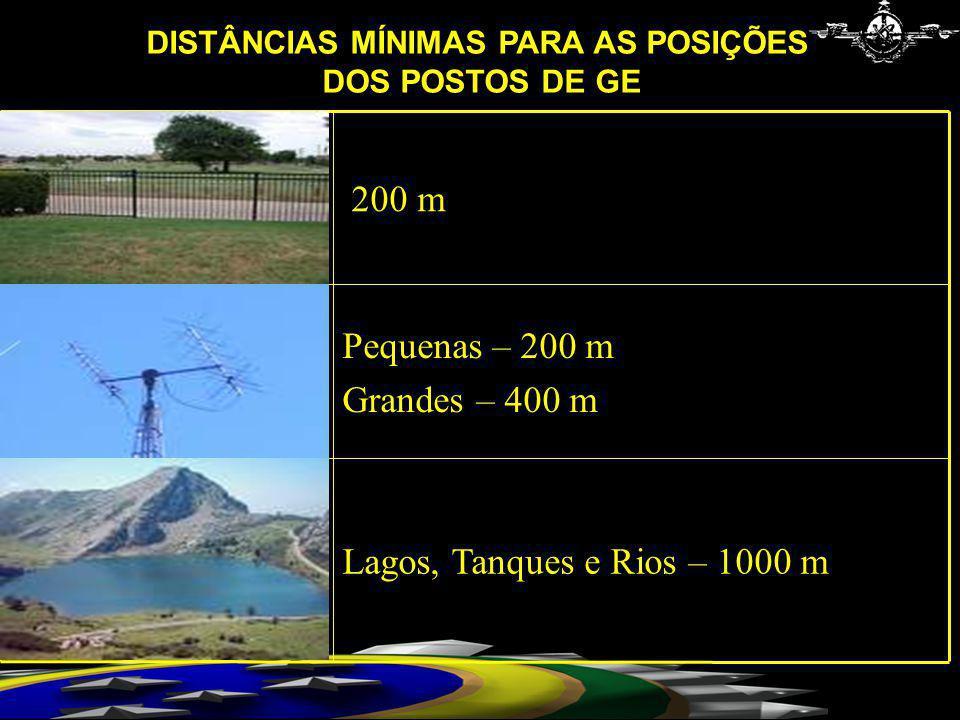 Lagos, Tanques e Rios – 1000 m Pequenas – 200 m Grandes – 400 m 200 m DISTÂNCIAS MÍNIMAS PARA AS POSIÇÕES DOS POSTOS DE GE
