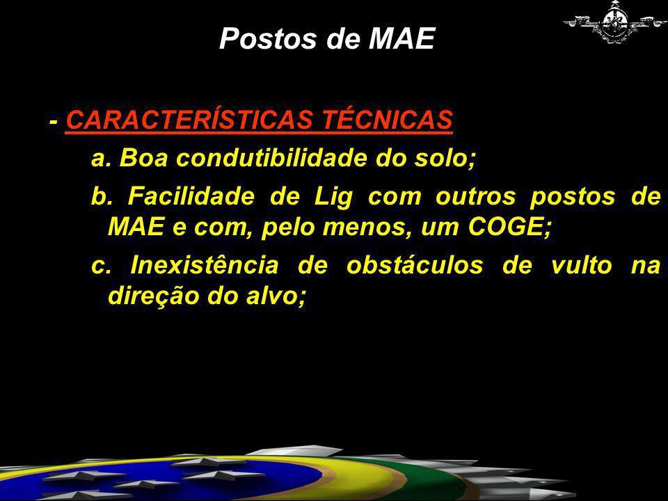Postos de MAE - CARACTERÍSTICAS TÉCNICAS a. Boa condutibilidade do solo; b. Facilidade de Lig com outros postos de MAE e com, pelo menos, um COGE; c.