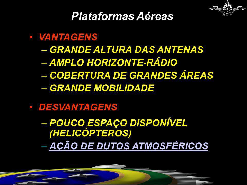 Plataformas Aéreas VANTAGENS –GRANDE ALTURA DAS ANTENAS –AMPLO HORIZONTE-RÁDIO –COBERTURA DE GRANDES ÁREAS –GRANDE MOBILIDADE DESVANTAGENS –POUCO ESPA