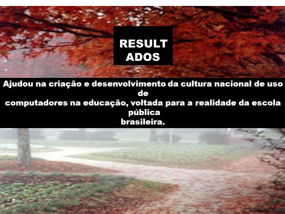 RESULT ADOS Ajudou na criação e desenvolvimento da cultura nacional de uso de computadores na educação, voltada para a realidade da escola pública brasileira.