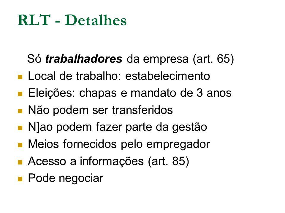 RLT - Detalhes Só trabalhadores da empresa (art. 65) Local de trabalho: estabelecimento Eleições: chapas e mandato de 3 anos Não podem ser transferido