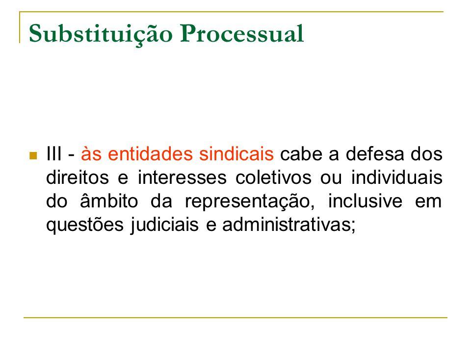 Substituição Processual III - às entidades sindicais cabe a defesa dos direitos e interesses coletivos ou individuais do âmbito da representação, inclusive em questões judiciais e administrativas;