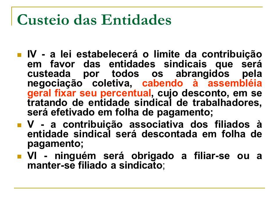 Custeio das Entidades IV - a lei estabelecerá o limite da contribuição em favor das entidades sindicais que será custeada por todos os abrangidos pela
