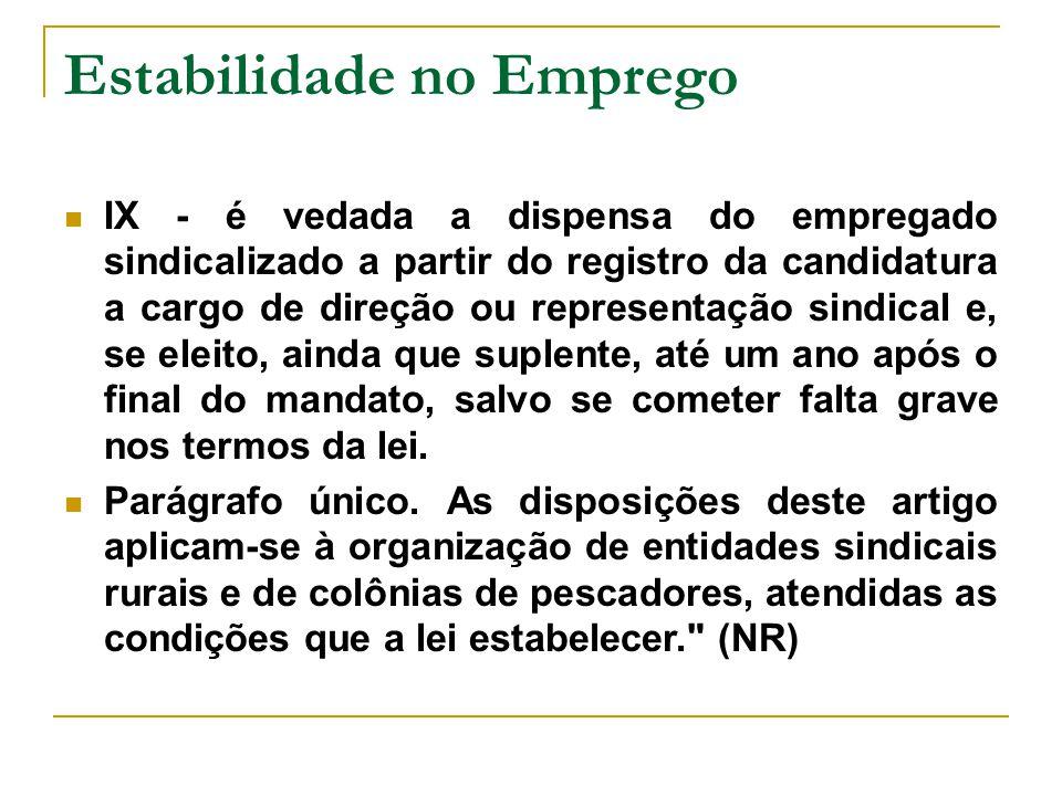 Estabilidade no Emprego IX - é vedada a dispensa do empregado sindicalizado a partir do registro da candidatura a cargo de direção ou representação si