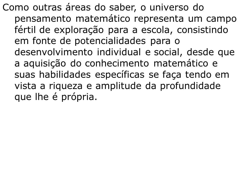 Como outras áreas do saber, o universo do pensamento matemático representa um campo fértil de exploração para a escola, consistindo em fonte de potenc