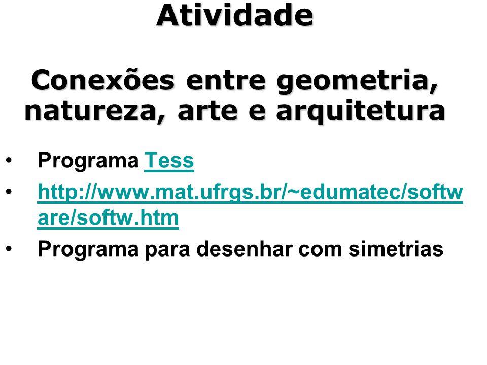 Programa TessTess http://www.mat.ufrgs.br/~edumatec/softw are/softw.htmhttp://www.mat.ufrgs.br/~edumatec/softw are/softw.htm Programa para desenhar co