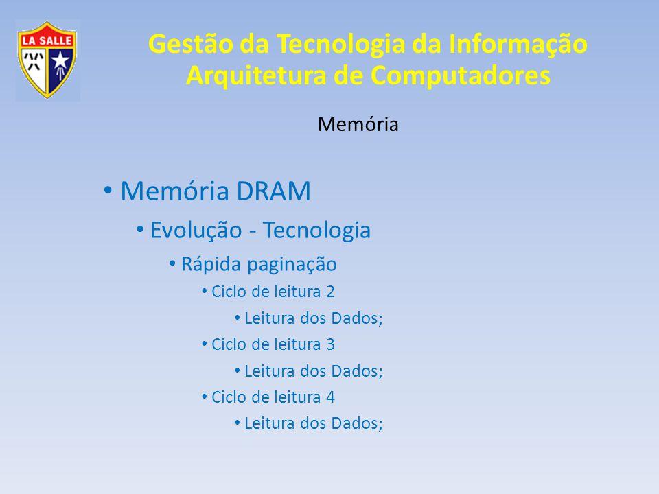 Gestão da Tecnologia da Informação Arquitetura de Computadores Memória Memória DRAM Evolução - Tecnologia Rápida paginação Ciclo de leitura 2 Leitura