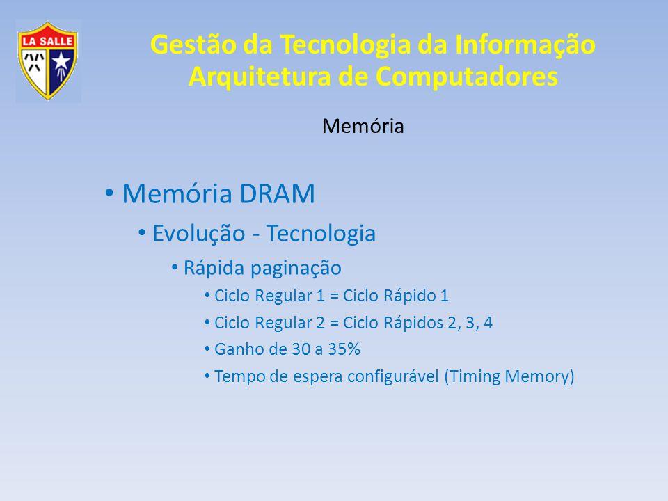 Gestão da Tecnologia da Informação Arquitetura de Computadores Memória Memória DRAM Evolução - Tecnologia Rápida paginação Ciclo Regular 1 = Ciclo Ráp