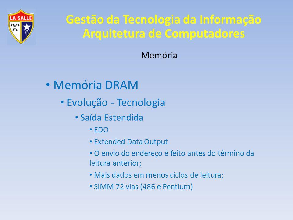 Gestão da Tecnologia da Informação Arquitetura de Computadores Memória Memória DRAM Evolução - Tecnologia Saída Estendida EDO Extended Data Output O e