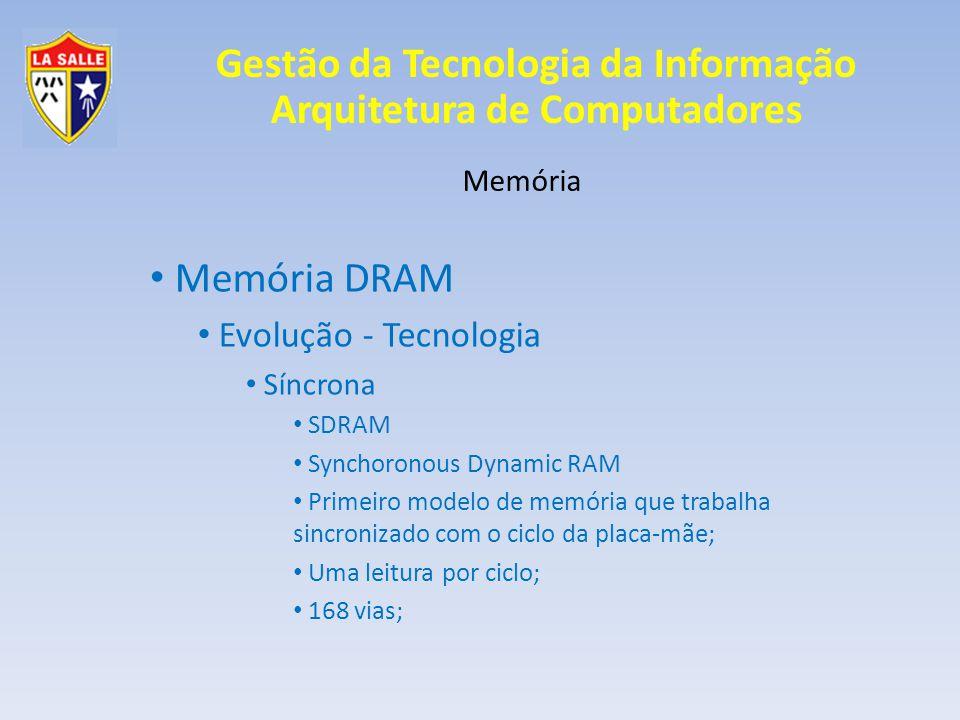 Gestão da Tecnologia da Informação Arquitetura de Computadores Memória Memória DRAM Evolução - Tecnologia Síncrona SDRAM Synchoronous Dynamic RAM Prim